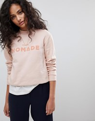 Maison Scotch Club Nomade Crewneck Sweatshirt Rose White Pink