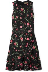 Michael Kors Collection Belted Ruffled Floral Print Crepe Mini Dress Black