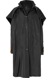 Off White Convertible Oversized Hooded Shell Coat Black