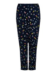 Yumi Poppy Print Turn Up Trousers Navy