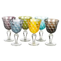 Pols Potten Wine Glass Blocks Multicoloured Set Of 6