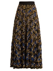 Altuzarra Vollotta Sequin Embellished Silk Skirt Navy Multi
