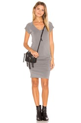 Sundry V Neck Slub Spandex Dress Sage