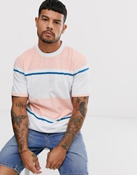 Native Youth T Shirt In Colour Block Peach And White Stripe