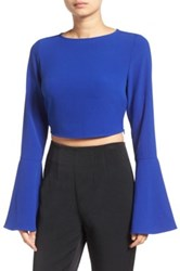 Kendall And Kylie Bell Sleeve Crop Top Blue