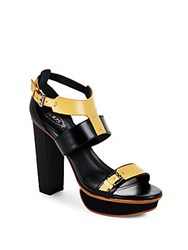 Tod's Two Tone High Heel Platform Sandals Brown