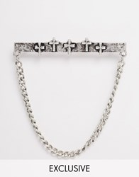 Reclaimed Vintage Cross Collar Chain In Silver