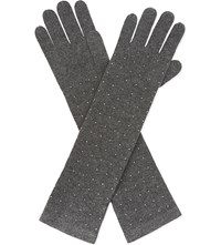 William Sharp Swarovski Crystal Cashmere Elbow Gloves Dark Grey