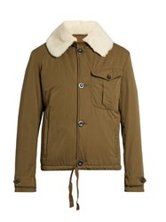 Loewe Shearling Collar Cotton Jacket Khaki