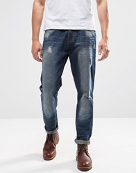 Brave Soul Sandblasted Ripped Slim Fit Jeans Blue