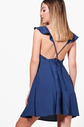 Boohoo Hope Open Back Skater Dress Navy