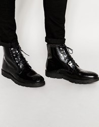 Asos Brogue Boots In Black Polish Leather With Cleated Sole