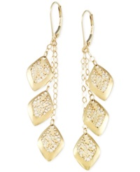 Macy's Filigree Linear Leverback Earrings In 14K Gold Yellow Gold