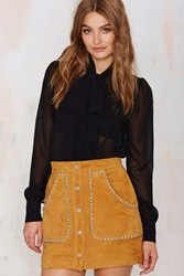 Nasty Gal Ladyland Suede Skirt Tan
