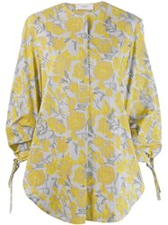 Pringle Of Scotland Oversized Striped Floral Shirt Yellow