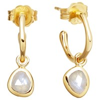 Missoma 18Ct Gold Vermeil Mini Molten Moonstone Charm Hoop Earrings Gold