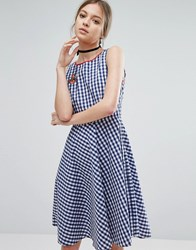Trollied Dolly Gingham Skater Dress With Anchor Badge Blue