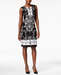 Jm Collection Petite Printed Sheath Dress Only At Macy's Black Artful
