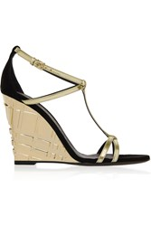 Burberry London Metallic Leather And Suede Wedge Sandals