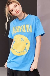Urban Outfitters Nirvana Smiley Tee Blue