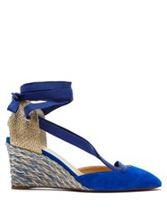 Christian Louboutin Noemia 70 Suede Espadrille Wedges Blue