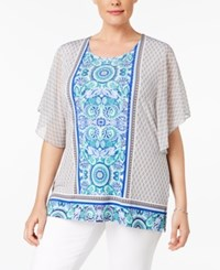 Jm Collection Plus Size Flutter Sleeve Printed Blouse Only At Macy's Gold Coast