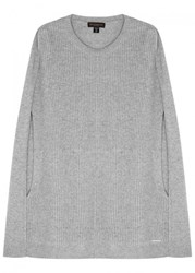 Donna Karan Collection Grey Panelled Knitted Cape