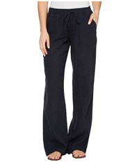 Allen Allen Beach Linen Pants Navy Women's Casual Pants