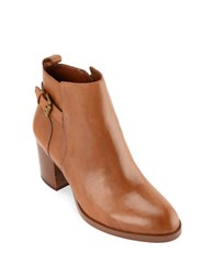 Lauren Ralph Lauren Genna Buckled Leather Ankle Boots Polo Tan