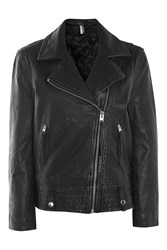 Topshop One Off Hand Painted Leather Biker Jacket Black