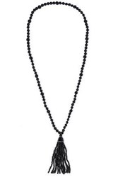 Kenneth Jay Lane Woman Tasseled Gold Plated Beaded Necklace Black