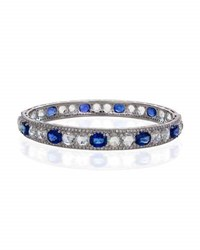 Facets Inc Signed Pieces Blue Sapphire And Rose Cut Diamond Bangle