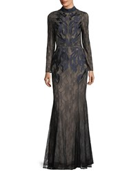 Camilla And Marc Coco Long Sleeve Gown Illusi Black