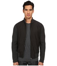 Vince Wool Nylon Zip Front Jacket Heather Black