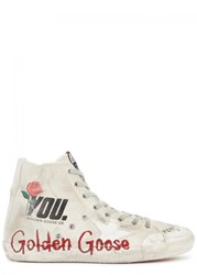 Golden Goose Deluxe Brand Francy Distressed Canvas Hi Top Trainers White