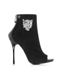 Philipp Plein Yesterday Black Suede And Patent Leather Open Toe Bootie