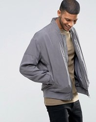 Asos Tencel Bomber Jacket With Wash In Charcoal Charcoal Grey