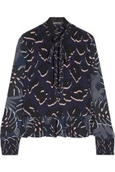 Markus Lupfer Ruffle Trimmed Printed Silk Crepe De Chine Blouse Midnight Blue