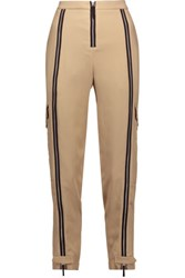 Belstaff Woodacomb Embellished Crepe Tapered Pants Beige