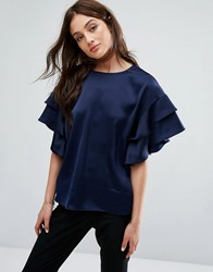 Y.A.S Dyma Flounce Tee Night Sky Navy