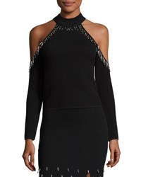 Jonathan Simkhai Beaded Knit Cold Shoulder Top Black