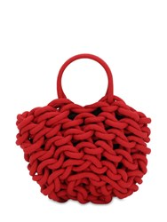 Alienina Julia Rope Bucket Cotton Top Handle Bag Red