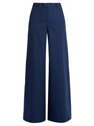Red Valentino Wide Leg Cotton Blend Trousers Navy