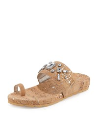 Donald J Pliner Tulia Jeweled Cork Flat Slide Sandal Silver Women's