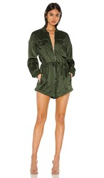 Kendall Kylie X Revolve Satin Convertible Cargo Romper In Olive. Army Green