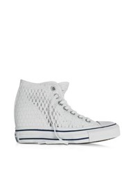 Converse All Star Mid Lux White Crochet Canvas Wedge Sneaker