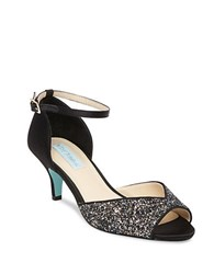 Betsey Johnson Rita Glittered Kitten Heel Pumps Black
