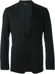 Dolce And Gabbana Peaked Lapel Jacket Black
