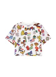 Opening Ceremony Global Varsity Cropped T Shirt Around The World Multi Colour