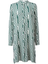 Closed Zig Zag Shirt Dress Green